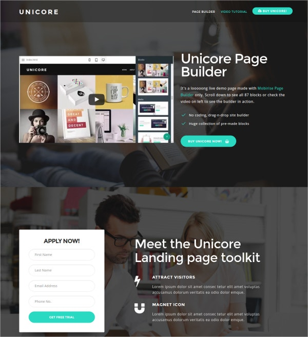 Bootstrap Video Landing Page Template $29