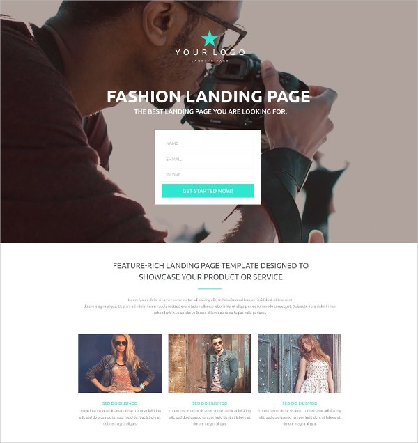 Fashion Video Landing Page Template $10