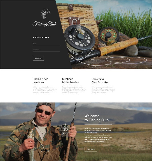 Fishing Club Landing Page Template $10