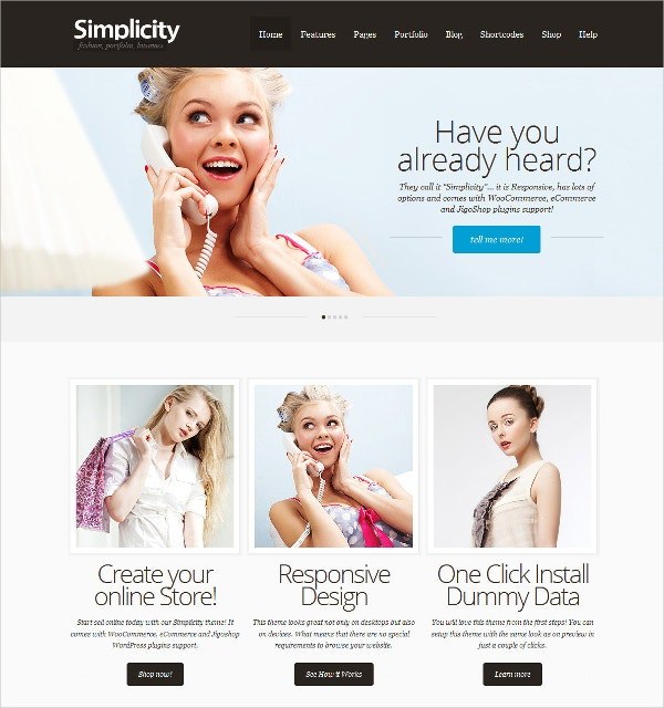 eCommerce Portfolio Responsive WordPress Theme $64