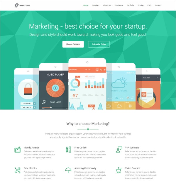 Responsive Mobile Landing Page Template $13