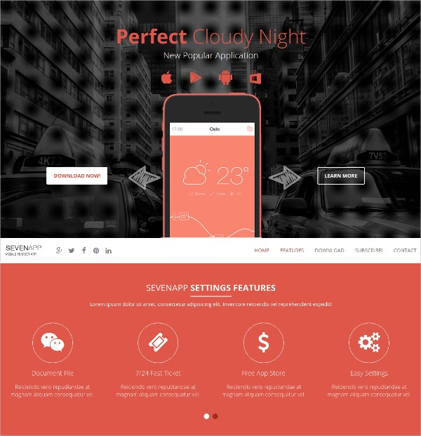 free mobile landing page template