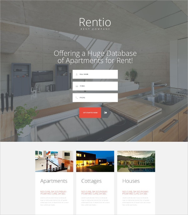 Real Estate Apartments Landing Page Template $10