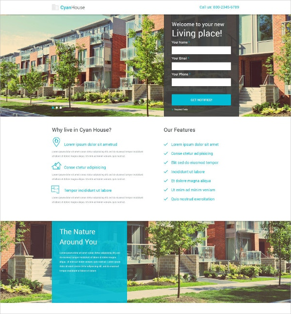Real Estate Building Landing Page Template $10