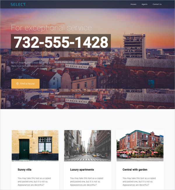 Real Estate Constuctor Landing Page WordPress Theme $59