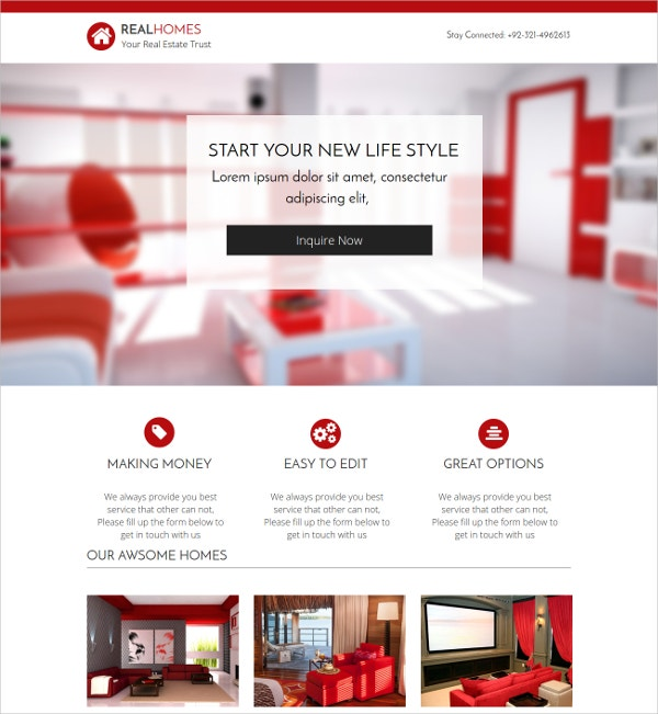 Real Estate Homes Landing Page Theme $18