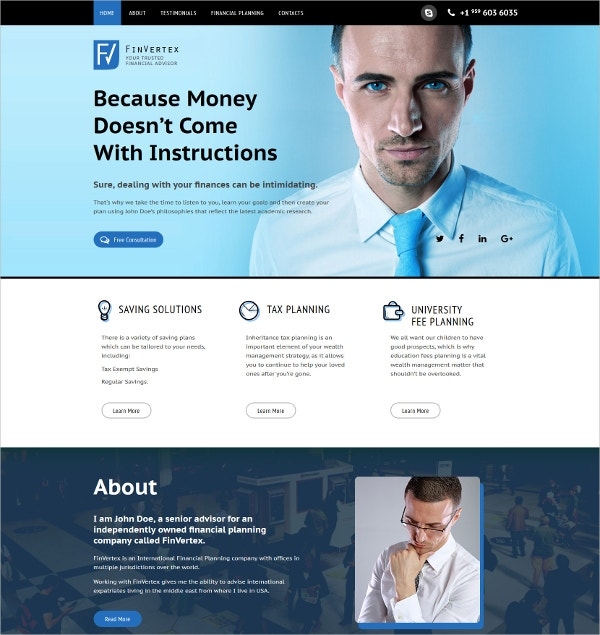 Finance Advisor Landing Page Template $10