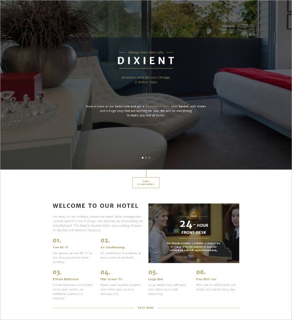 Luxury Hotels Landing Page Template $10