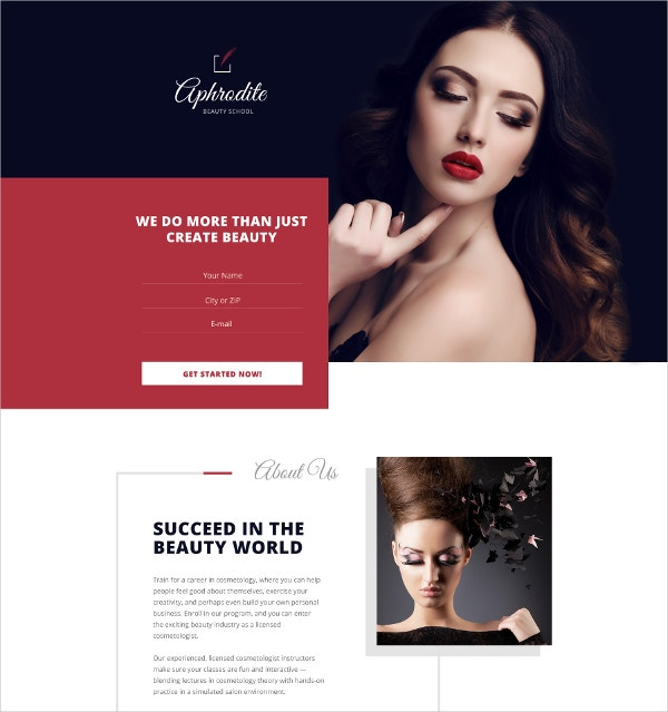 Premium Beauty School Landing Page Template $10