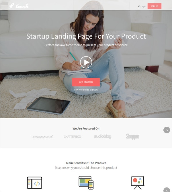 Corporate Landing Page Bootstrap WP Theme $59