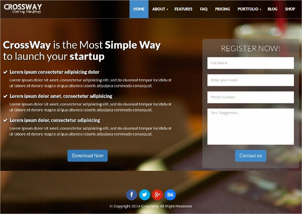 Agency Landing Page Bootstrap WP Theme $44