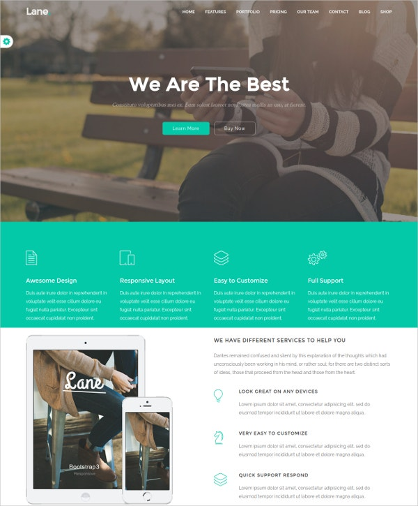 Marketing Landing Page Bootstrap WP Theme $39