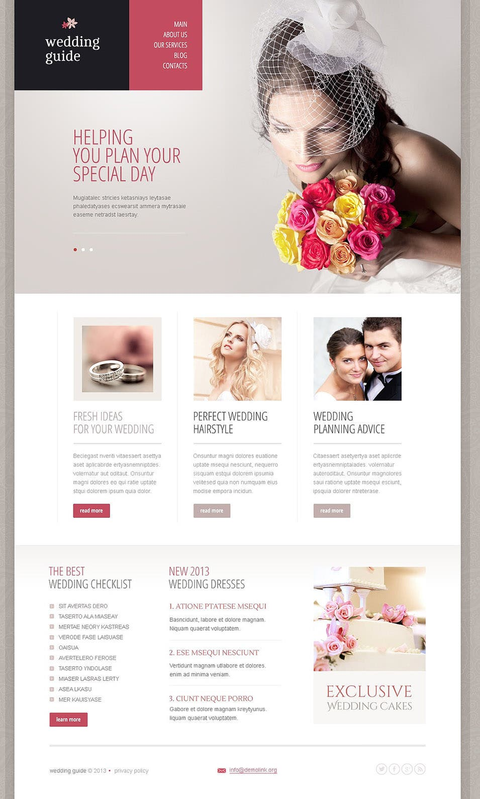 19 best wedding event planner website templates free for Free wedding planner templates