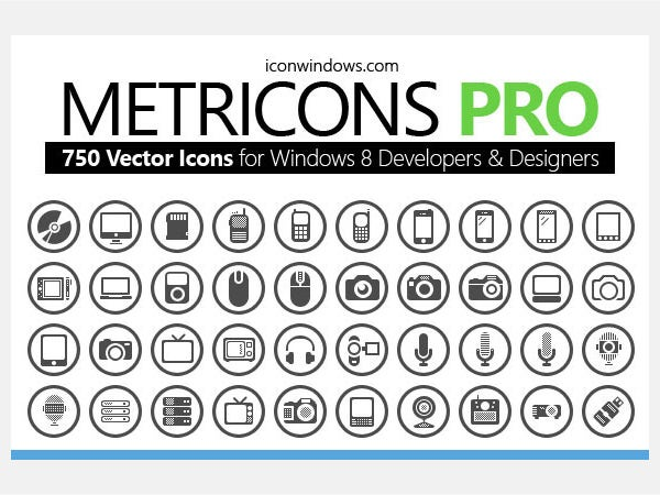 750 icons for Windows OS & Phone
