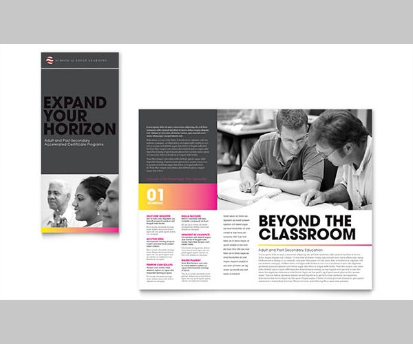 Adult Education & Business School Tri Fold Brochure Template