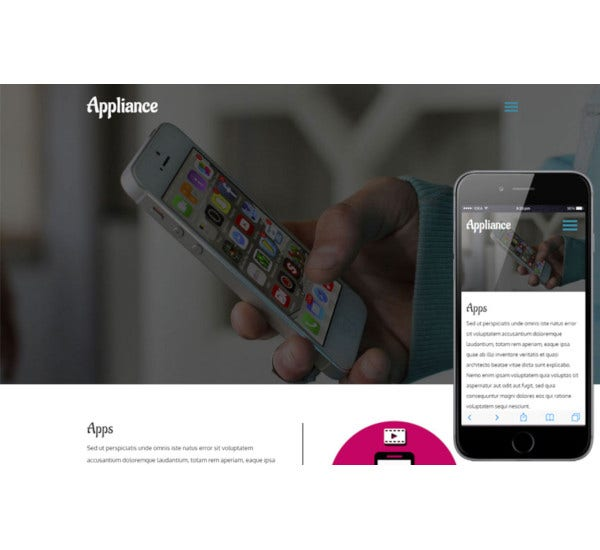 appliance mobile app flat responsive web template