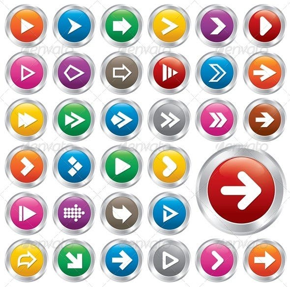 Arrow Sign Icon Set. Simple Shape Internet Buttons