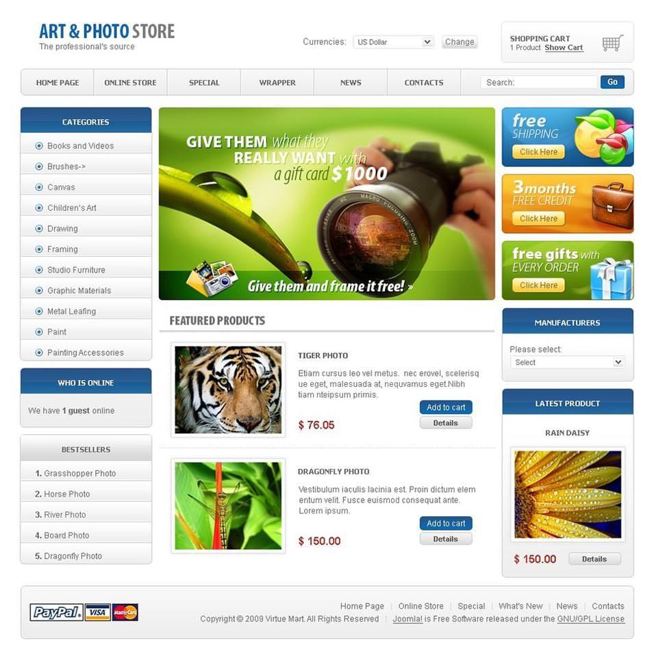free joomla templates - virtuemart shop website templates themes free