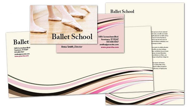 ballet dance school envelope design detail