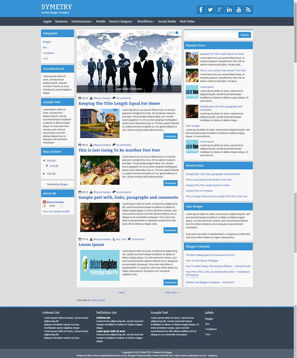 Best free 3 column blog templates themes free for Free blog templates wordpress