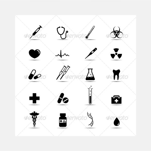 Black and white medical icons