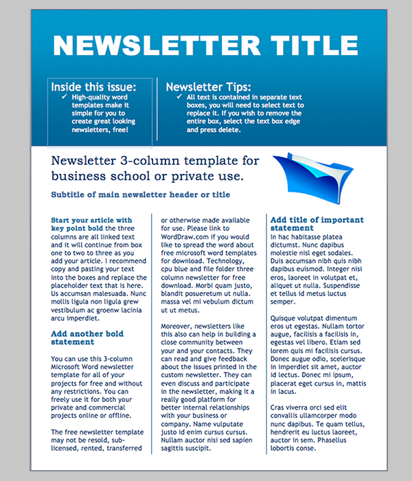 Word newsletter template 31 free printable microsoft for Free newsletter templates downloads for word