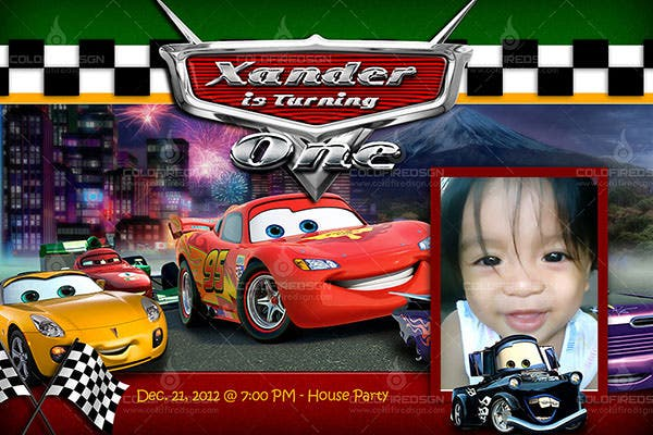 cars 2 birthday psd template