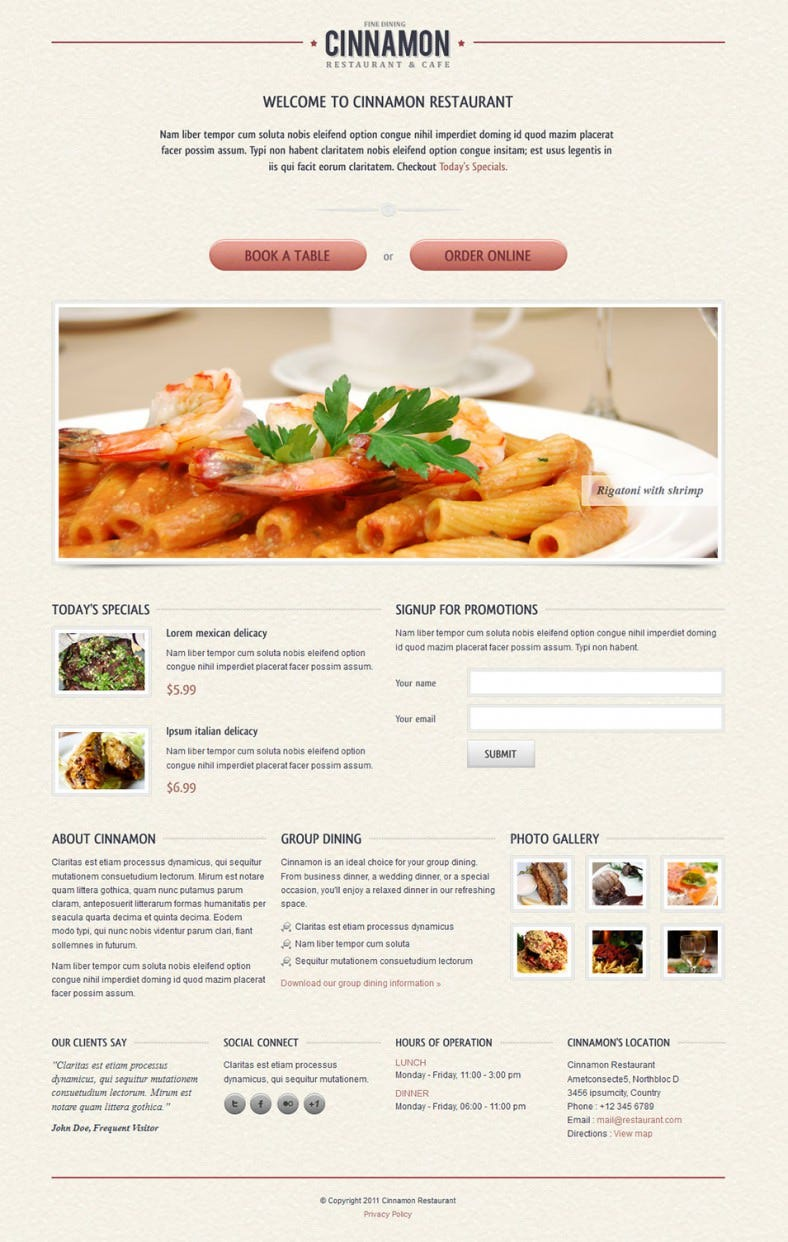10 best restaurant landing page templates free premium for Jquery landing page templates