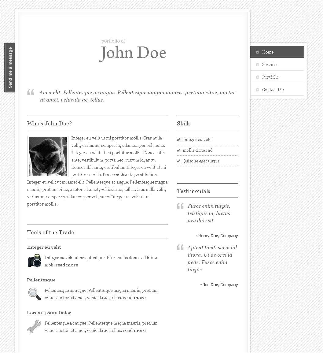 clean my portfolio one page theme