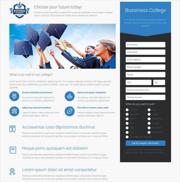 college landing page free responsive website templ