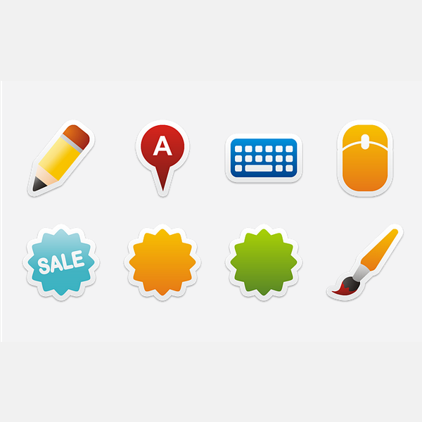 Colorful Stickers Part 6 Icon Set
