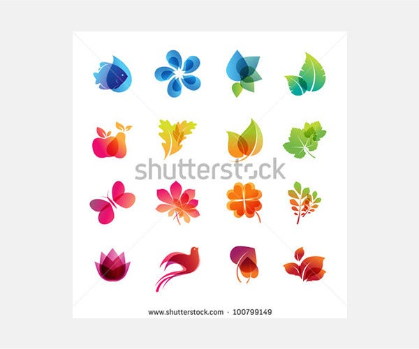 colorful nature icon set