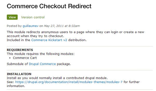 commerce checkout redirect