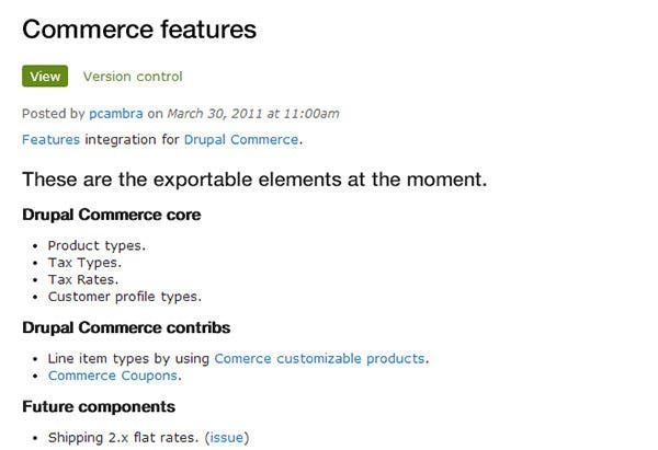 commerce features