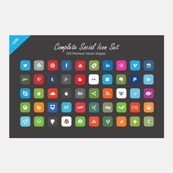 Complete Social Icon Set - Vector