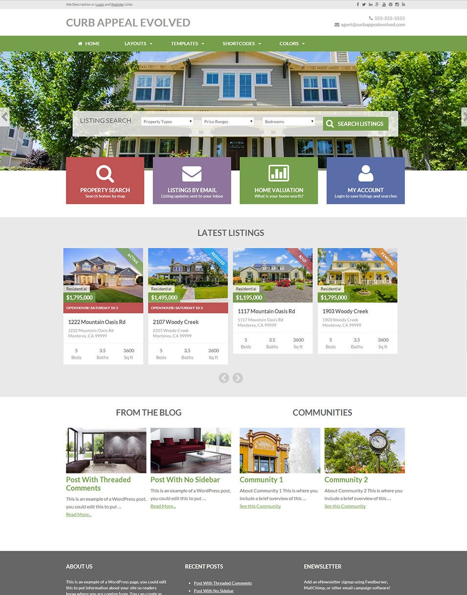 real estate website themes templates premium templates this is niche wordpress for real estate and property related sites and developed equity framework it comes equity theme pack