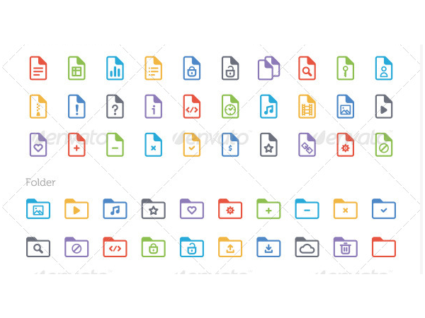document and folder icon set