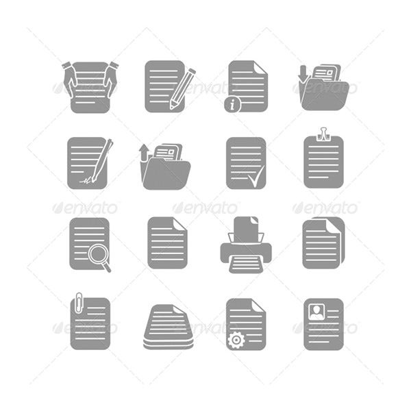 Documents files and folders icons set