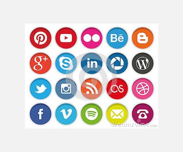 Editorial Photo: Circular Social Media icons