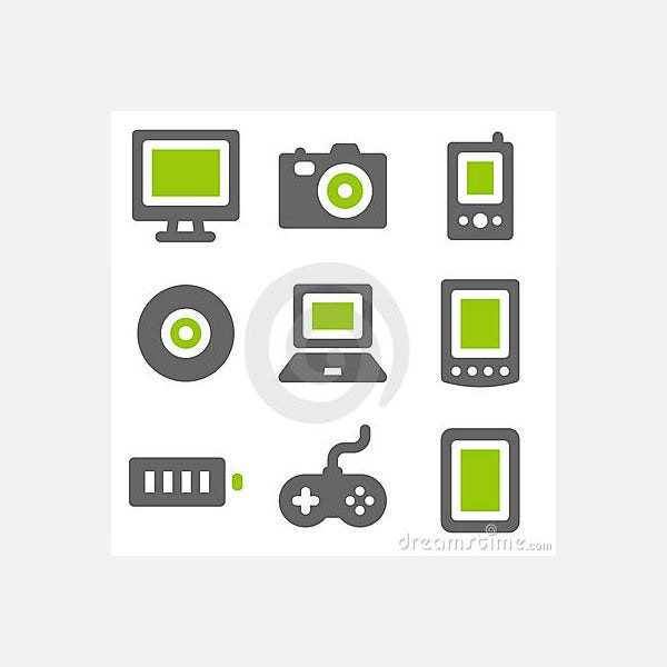 Electronics web icons, green grey solid icons