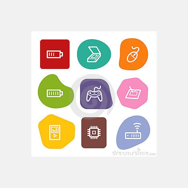 Electronics web icons set 2, colour spots series