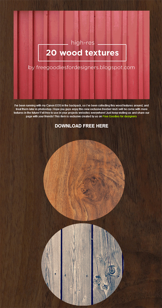 freebie 20 high res wood textures