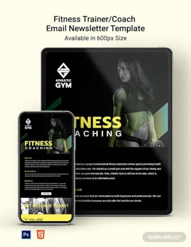 fitness trainer coach email newsletter template