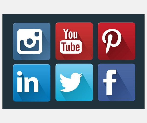 Flat Social Network Icon Set