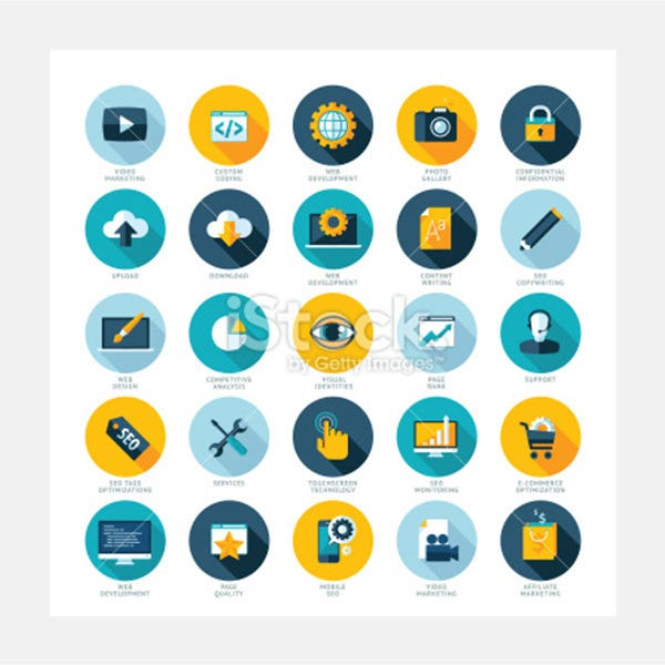 flat design icons for web design development seo and internet marketing