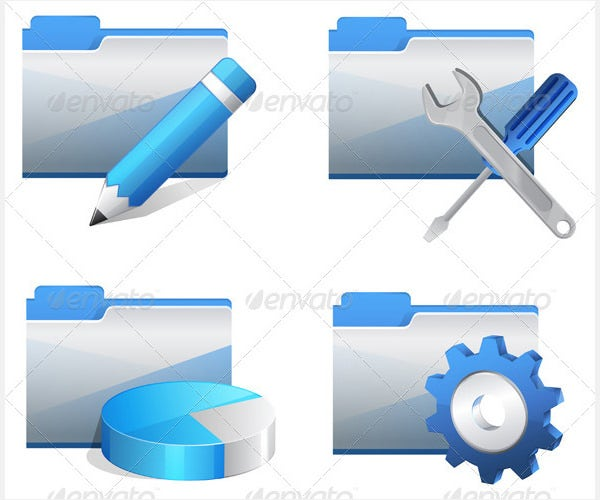 folder icon set illustration