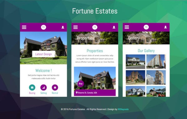 fortune estates mobile app bootstrap web template