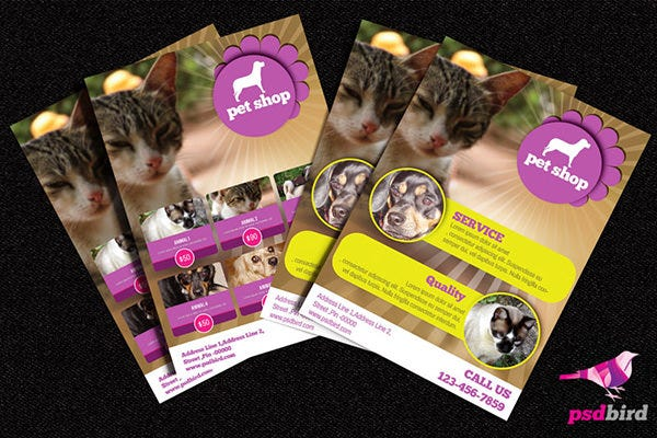 free pets animals shop brochure psd