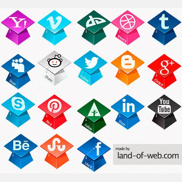 Freebie: Graduation Hats Social Icons