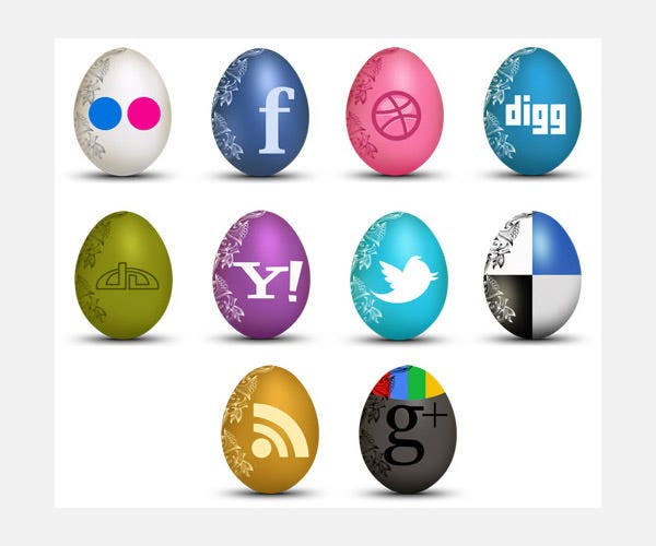 freebie set of egg shaped social icons